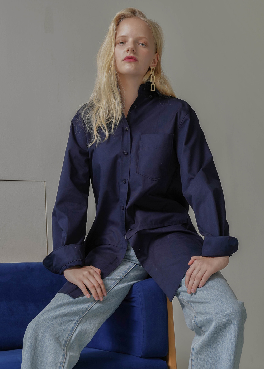 Back Pointed Soft Shirt Navy