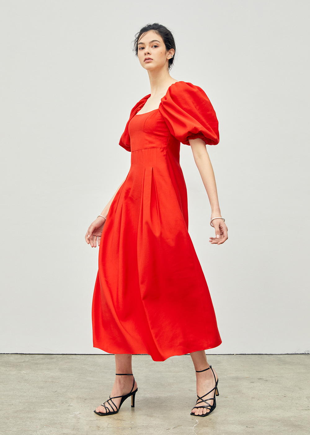 Stitched Puff Sleeve Maxi Dress Red