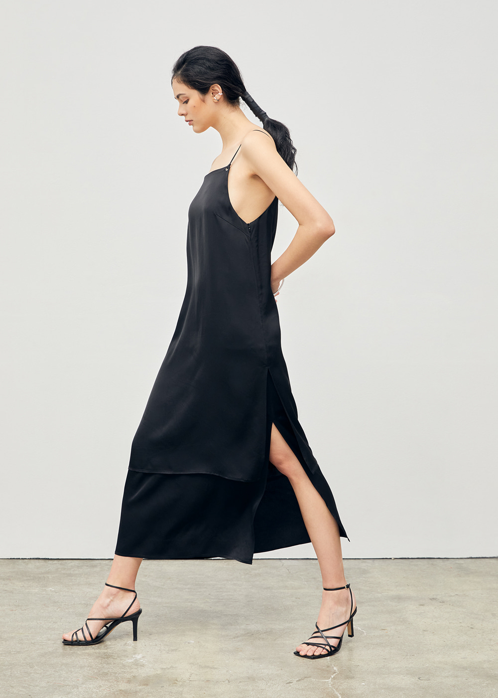 Tiered Slip Long Dress Black