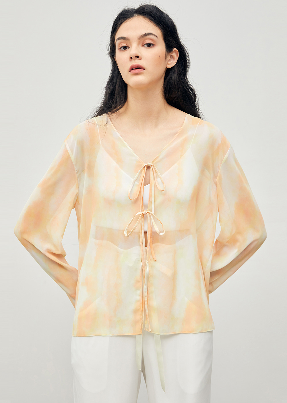 Watercolor See-through Blouse Yellow