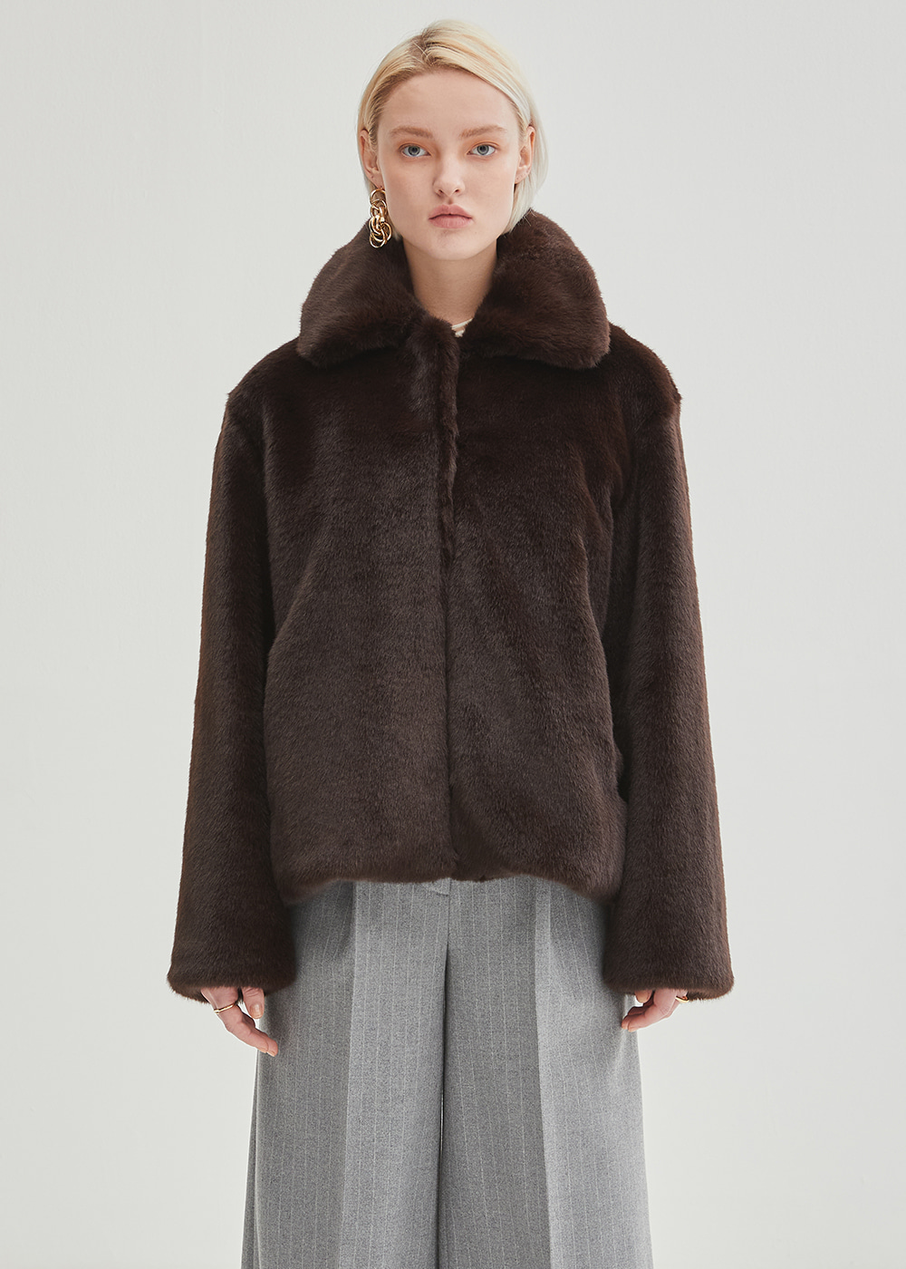 One Collar Mink Jacket - Brown