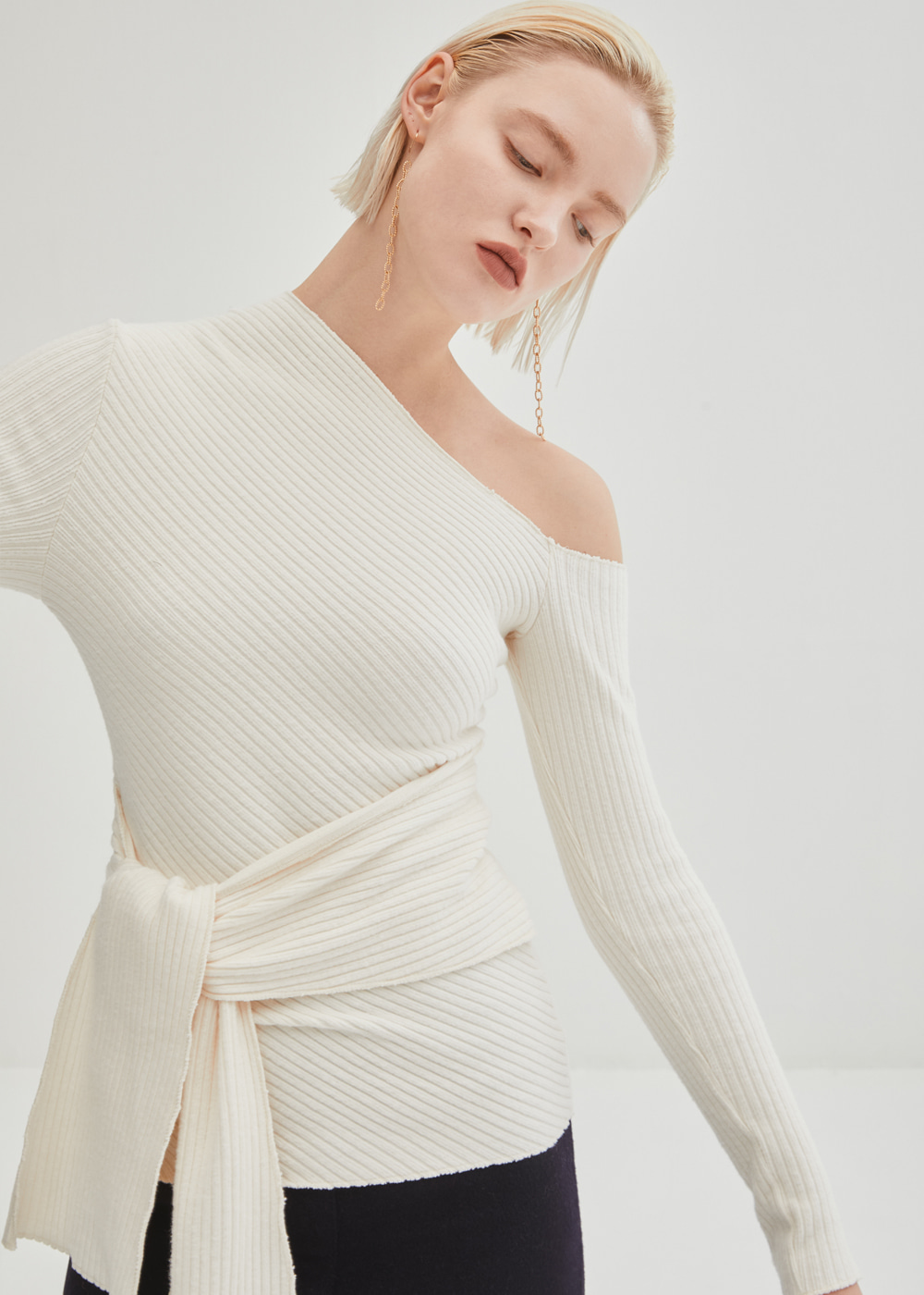 Tied Waist One Shoulder Top - Ivory