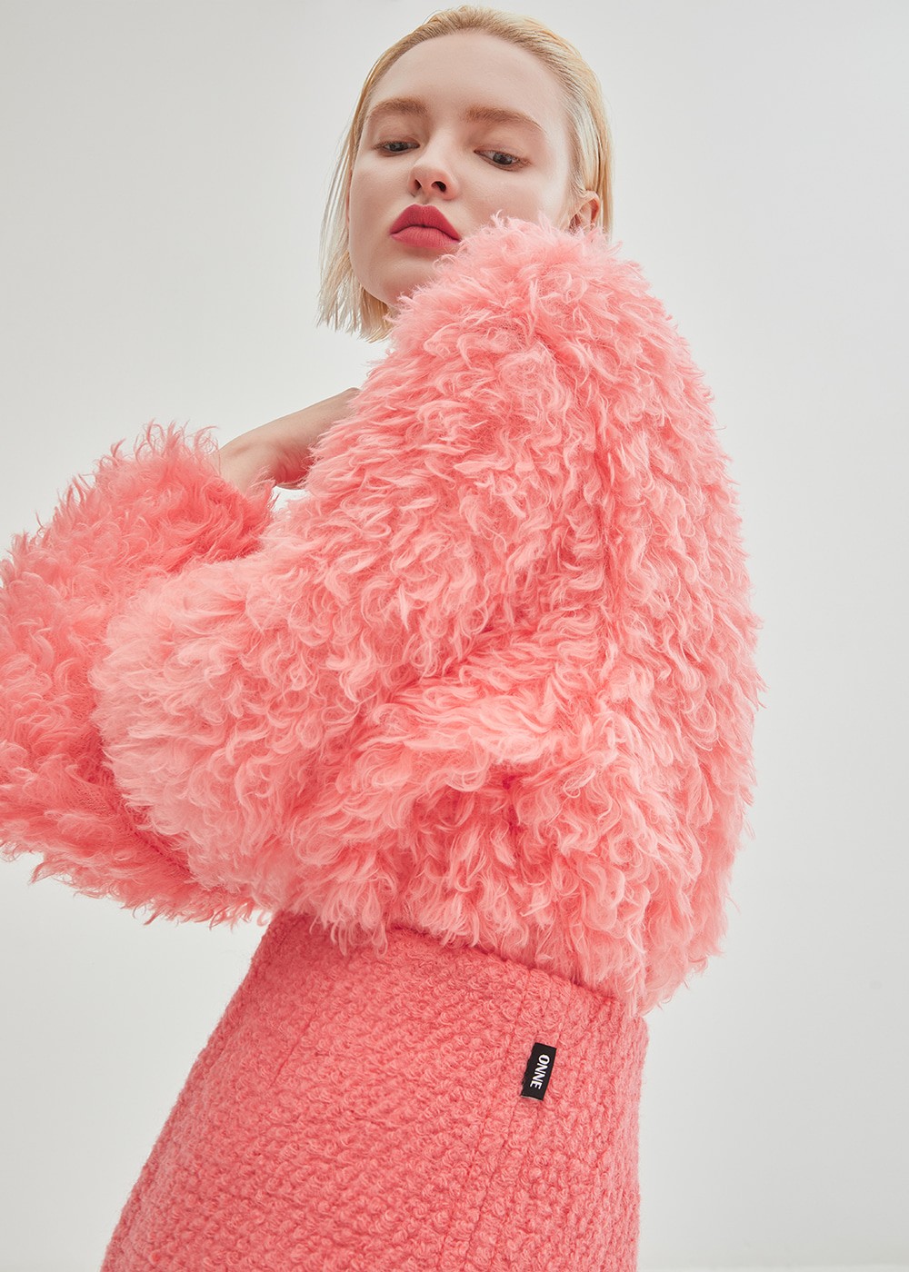 Curly Fur Knit Top - Pink