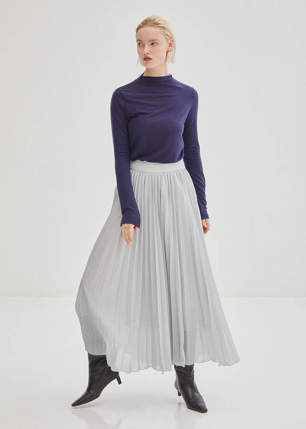 Glitter Pleated Long Skirt - Silver