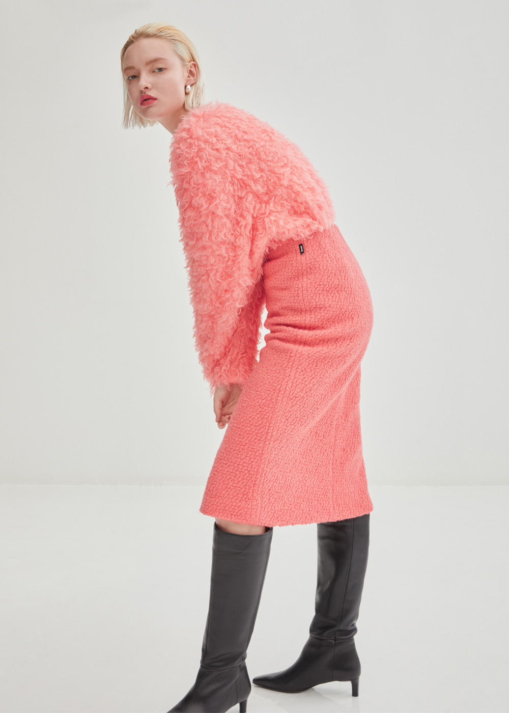 Stitched Wool Tweed Midi Skirt - Pink