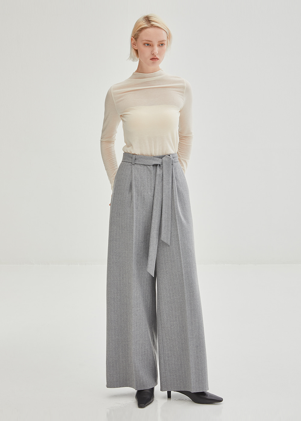 Classic Pin-Striped Wide Wool Pants - Grey