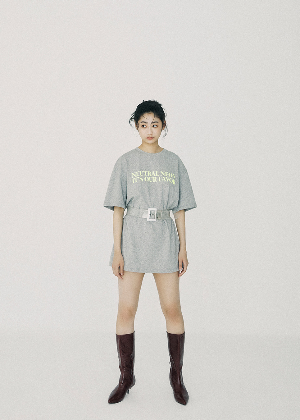 NEUTRAL NEON Over Fit T-Shirt Gray