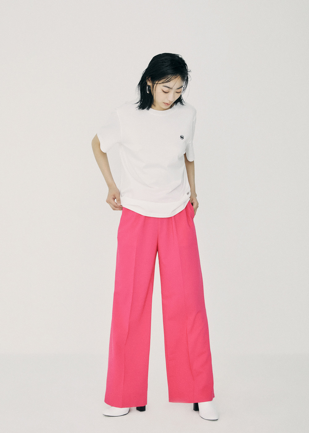 Band Waisted Straight Fit Pants Pink