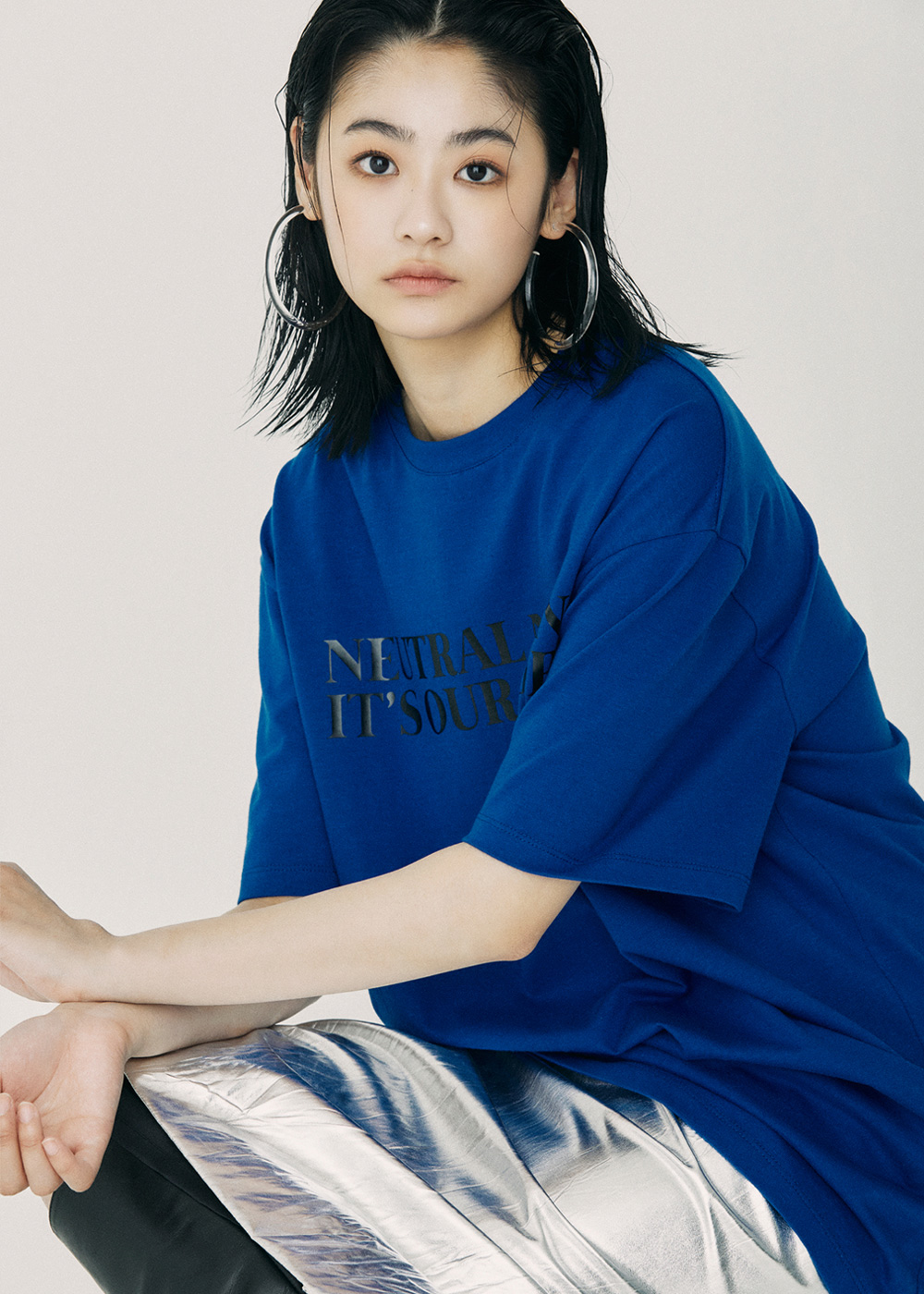 NEUTRAL NEON Over Fit T-Shirt Blue