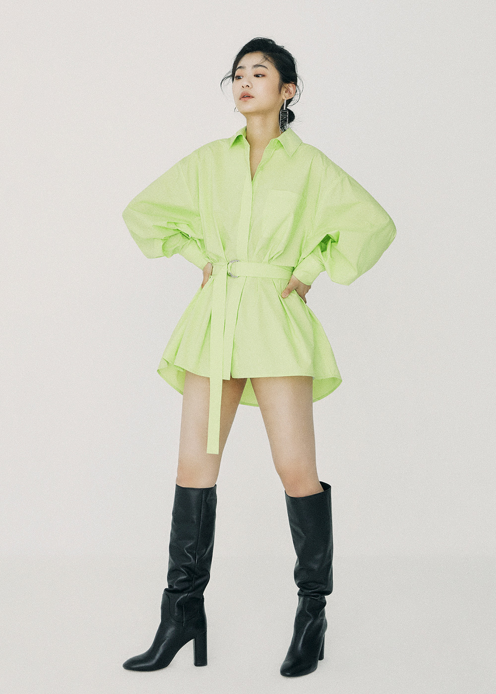 Belted Volume Shirt Lime