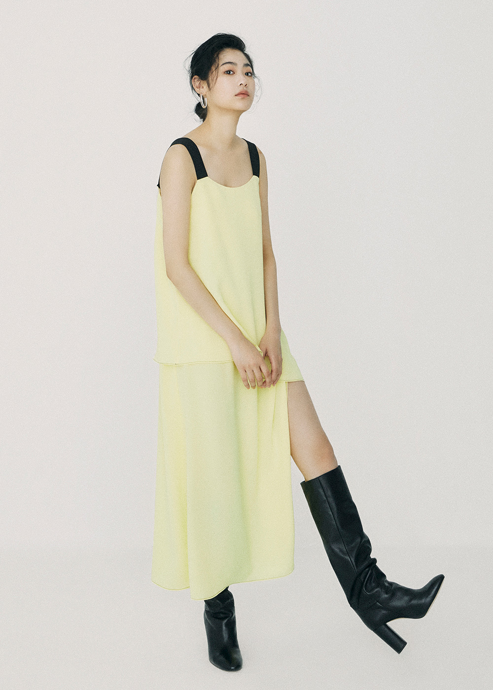 Unbal Twofold Maxi Dress Light Yellow