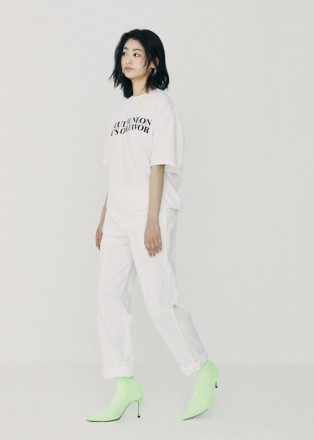 Line Colored Slim Baggy Pants White