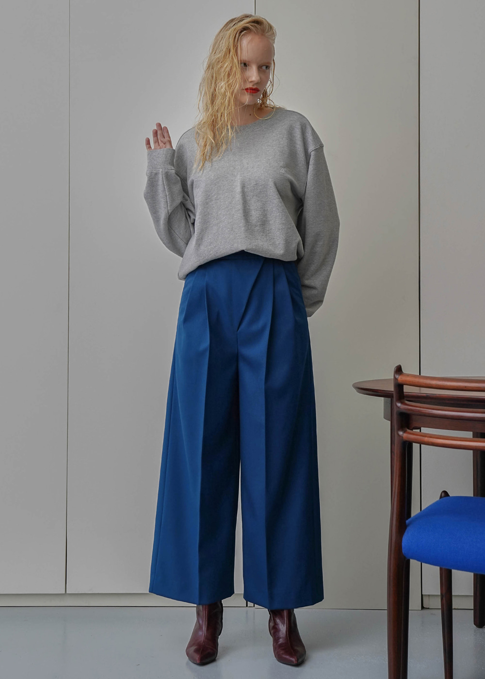 Diagonal Wool Wide Pants Blue-Green