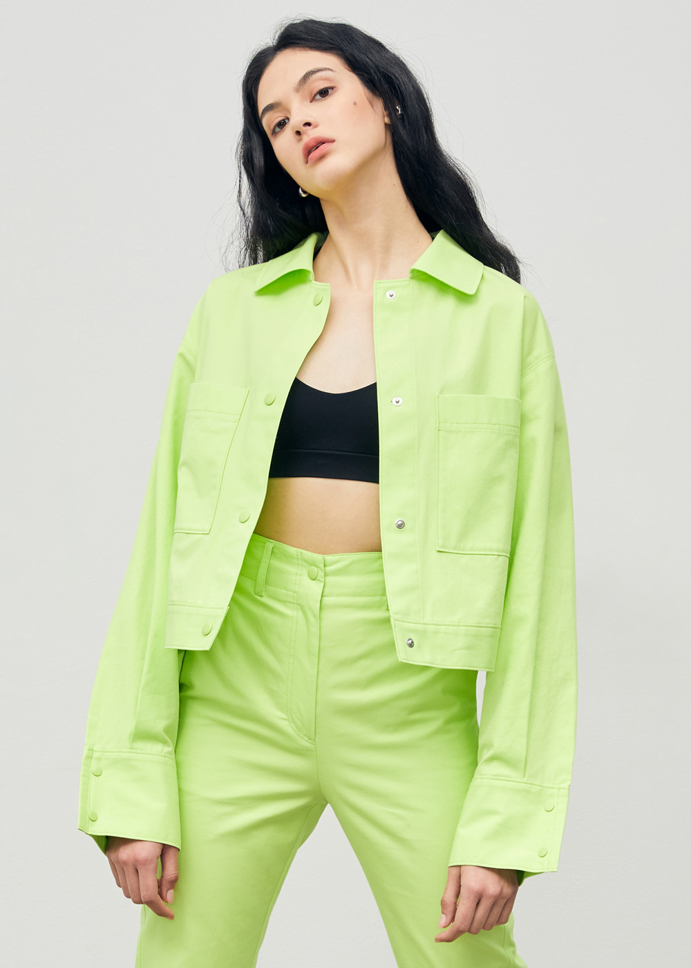 Cropped Snap Shirt Jacket Lime