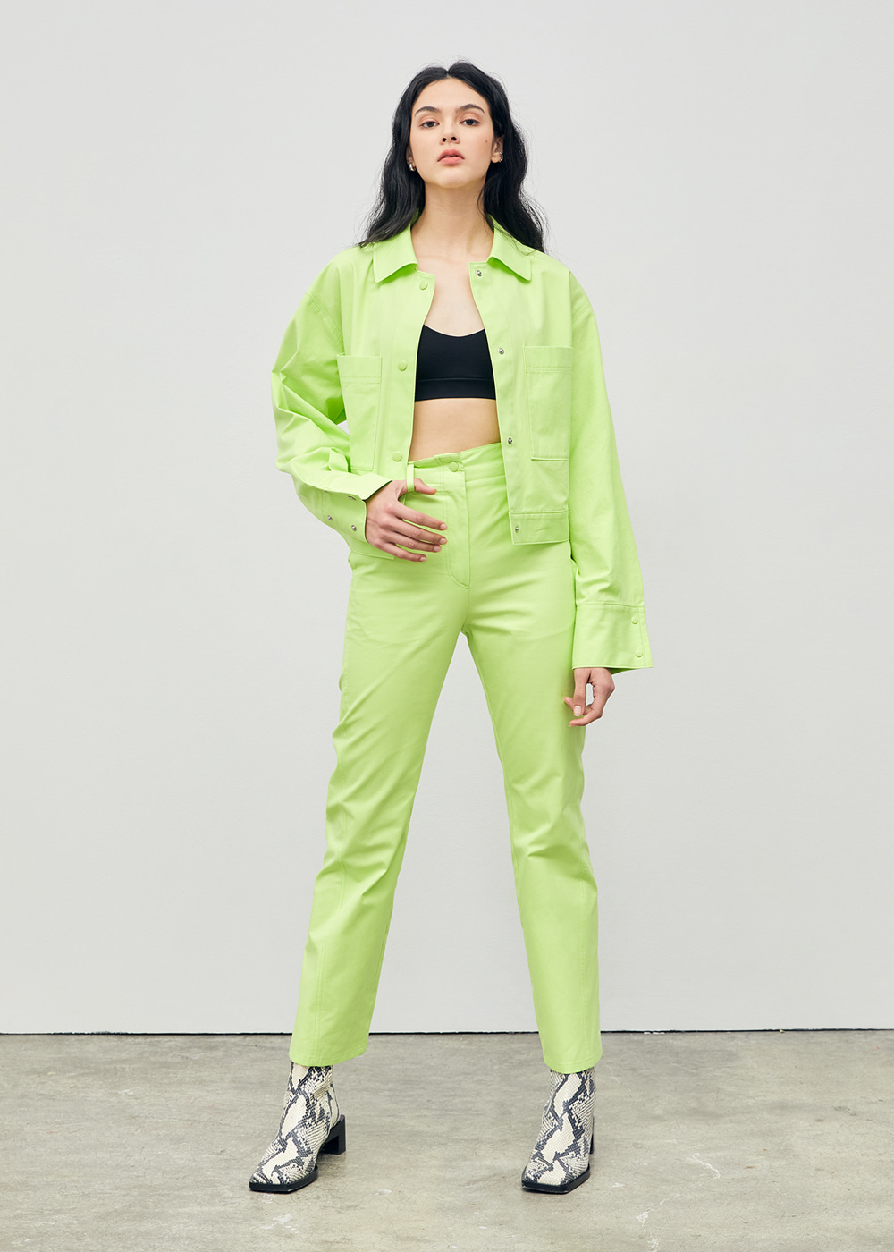 Stitched Straight Fit Pants Lime