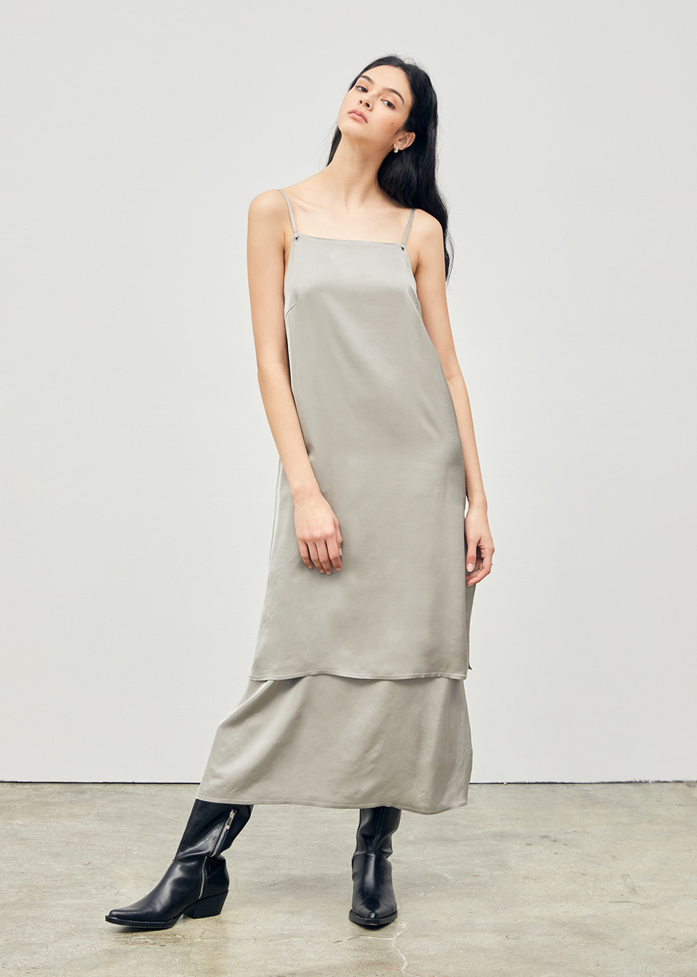 Tiered Slip Long Dress Khaki Grey