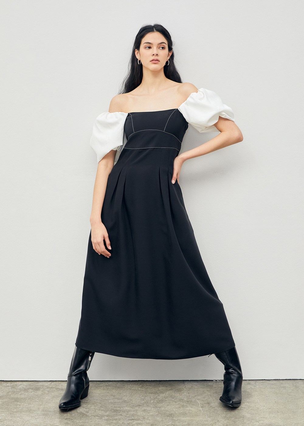 Stitched Puff Sleeve Maxi Dress Black