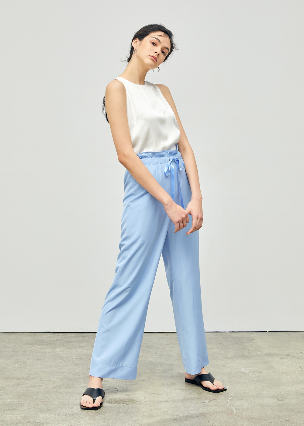 Banded Waist Ribbon Pants Light Blue